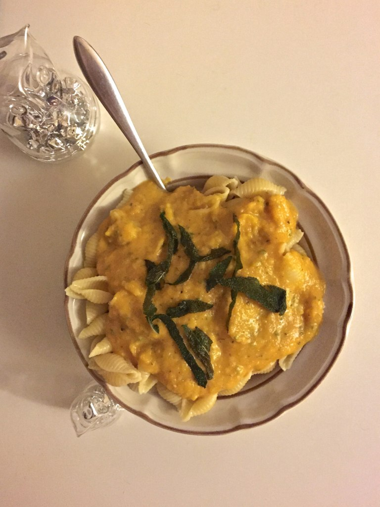 Butternut Squash Pasta Sauce with Fried Sage Leaves