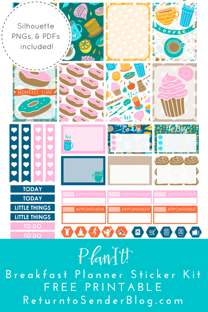 Free printable breakfast planner stickers from Return to Sender