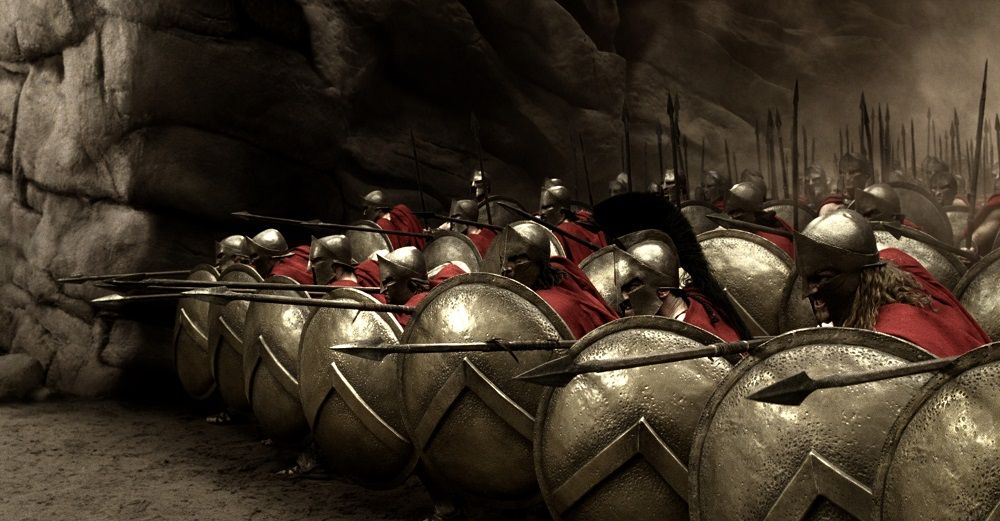 "Captain (VINCENT REGAN, third from right), Leonidas (GERARD BUTLER) and Stelios (MICHAEL FASSBENDER) take their places at the front of the deadly Spartan phalanx in Warner Bros. Pictures', Legendary Pictures' and Virtual Studios' action drama ""300,"" distributed by Warner Bros. Pictures. PHOTOGRAPHS TO BE USED SOLELY FOR ADVERTISING, PROMOTION, PUBLICITY OR REVIEWS OF THIS SPECIFIC MOTION PICTURE AND TO REMAIN THE PROPERTY OF THE STUDIO. NOT FOR SALE OR REDISTRIBUTION."
