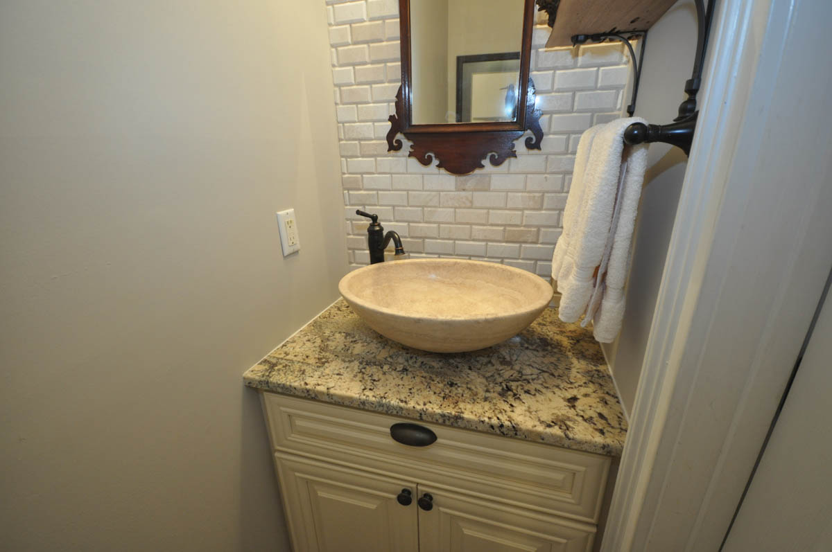powder room remodel with new flooring