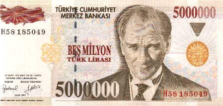 Türkischer Geldschein vor dem Streichen der Nullen