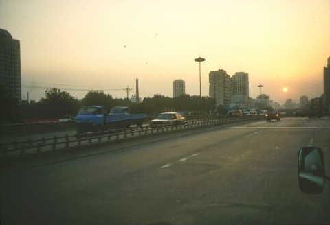 Peking: Smog-Sonnenuntergang