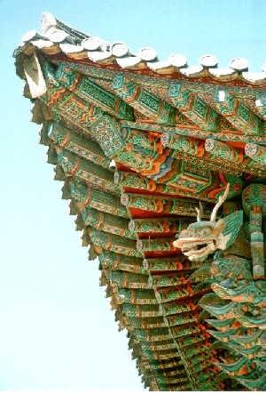Traditionelles Dach im Kaiserpalast von Seoul