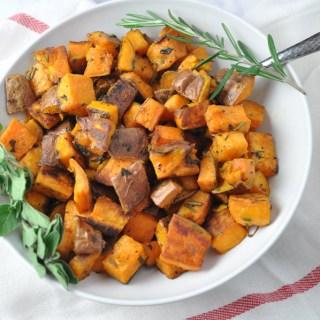 Garlic and Herb Roasted Sweet Potatoes