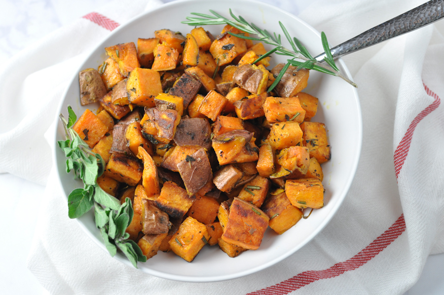 Garlic and Herb Roasted Sweet Potatoes - Tabitha Talks Food