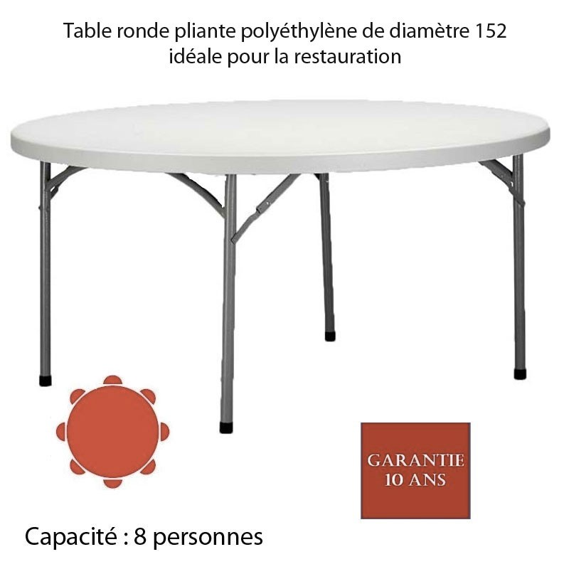 Table ronde pliante polythylne PLANET150 Diam 152