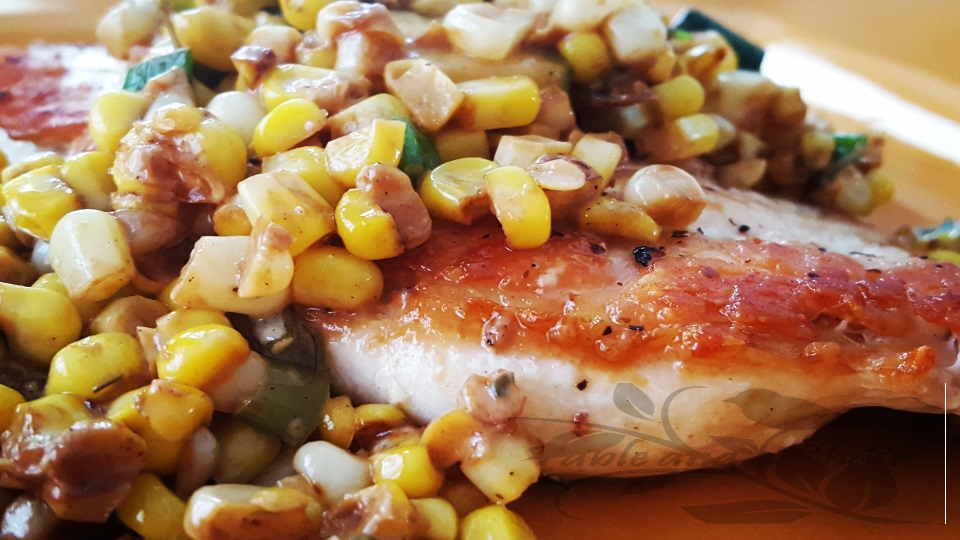 Pan Seared Chicken with Sweet Corn and Zucchini Salad