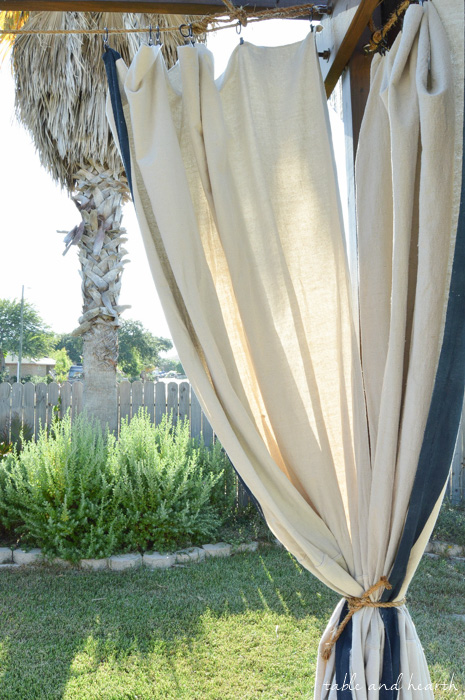 Budget Friendly And No Sew! DIY Outdoor Curtains Table And Hearth
