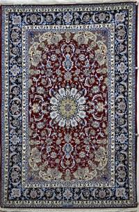 Dark Red & Blue Silk Persian Rug - Item# 778