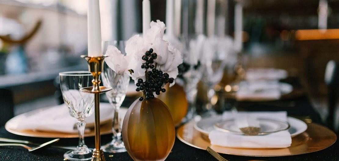 Great Gatsby goud bestek vintage kandelaar glaswerk