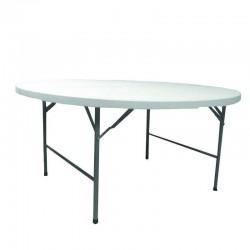 table valise ronde pliante polypro transportable