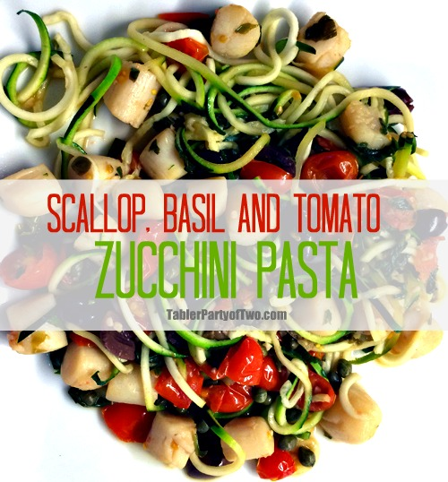 Scallop, Basil and Tomato Zucchini  Pasta recipe - This is an incredibly healthy and delicious dish! Plus it's paleo friendly. The zucchini pasta is so much quicker than regular pasta. And can I just say... I LOVE my spiralizer that makes these zoodles!