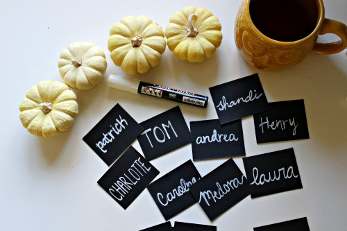 Cute little DIY chalkboard-inspired place cards.