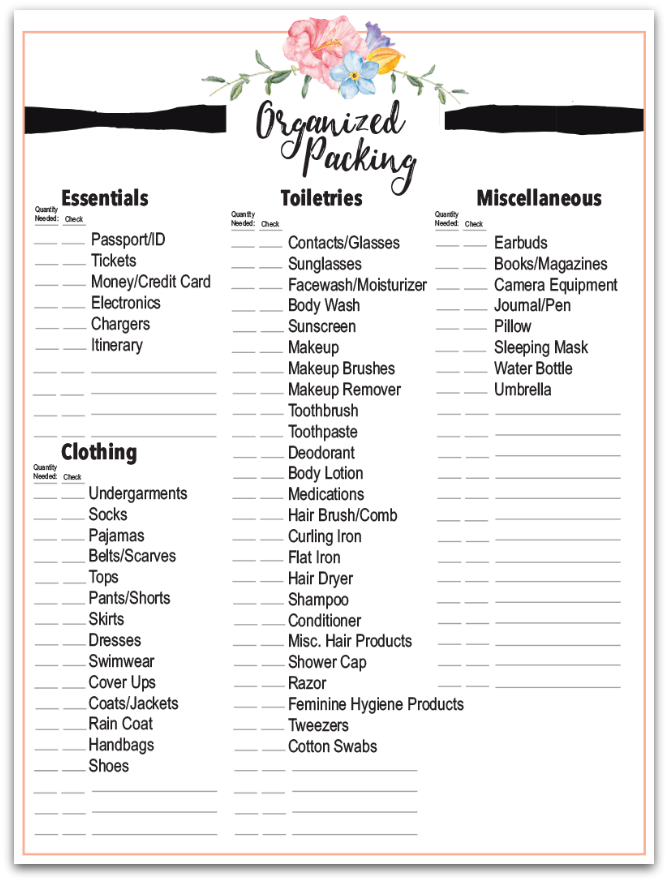 Get your FREE packing checklist for your summer travel!