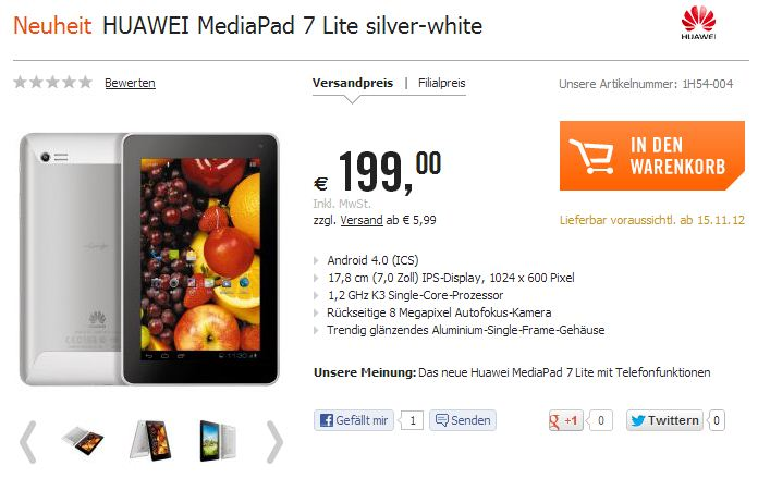 huawei mediapad 7 lite f r 199 euro ab dem 15 november tablet blog. Black Bedroom Furniture Sets. Home Design Ideas