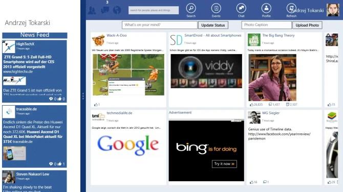 Facebook für Windows 8 Tablets