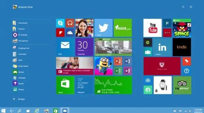 Windows 10 Tablet UI