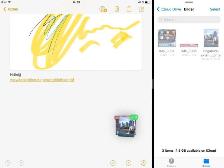iOS 11 Drag und Drop