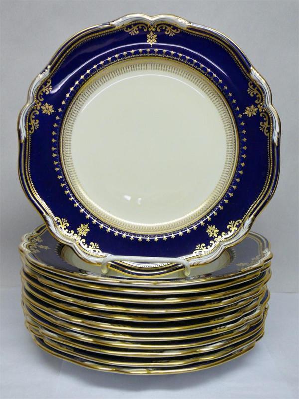 Set Of 12 Spode Copeland' Y2092 Lancaster Blue And Cream