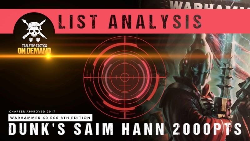 Warhammer 40,000 8th Edition List Analysis: Dunk's Saim Hann 2000pts