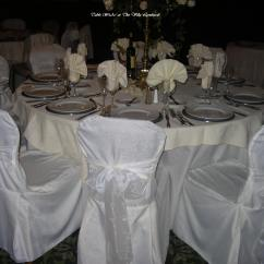 White Chair Covers With Ivory Sash Blue Salon Linen
