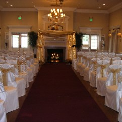 Ivory Chair Covers With Gold Sash Desk Rolling Reception Halls Gallery 2