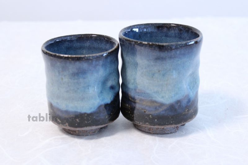 japanese kitchen knife set table and corner bench hagi yaki ware tea cups pottery aohagi nen blue ...
