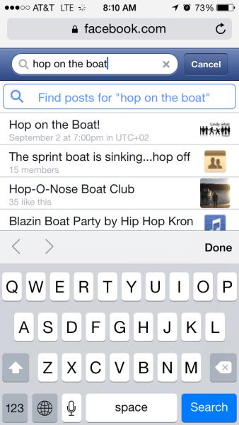 Facebook Mobile Search