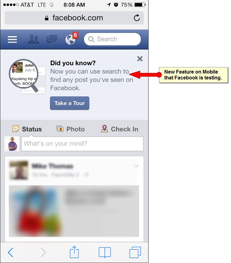 Facebook Tests Mobile Search Feature for Posts