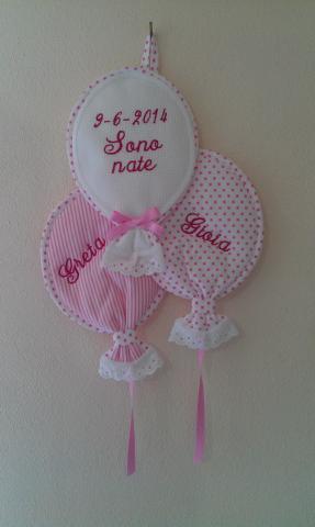 Fiocco nascita palloncini ricamo  Tacabutun