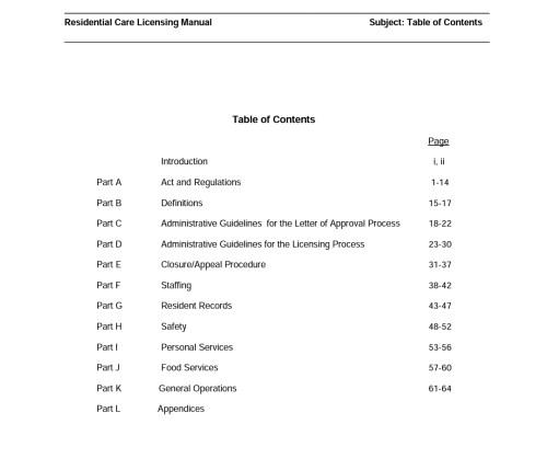 Manitoba Residential Care Licensing Manual