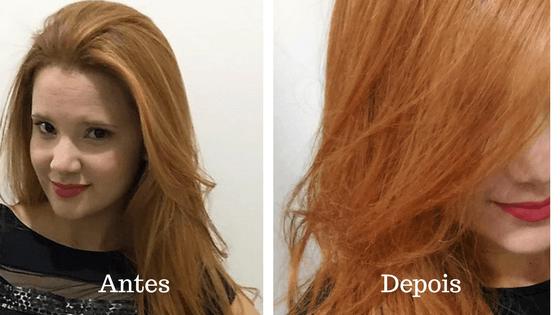 antes e depois do gloss matizador 3d ruivo