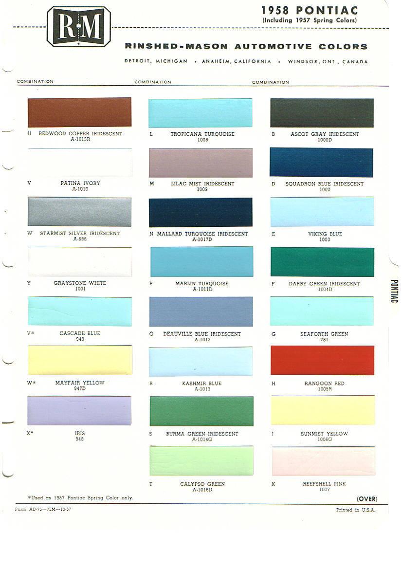 Codes Ford 1962 Color Interior