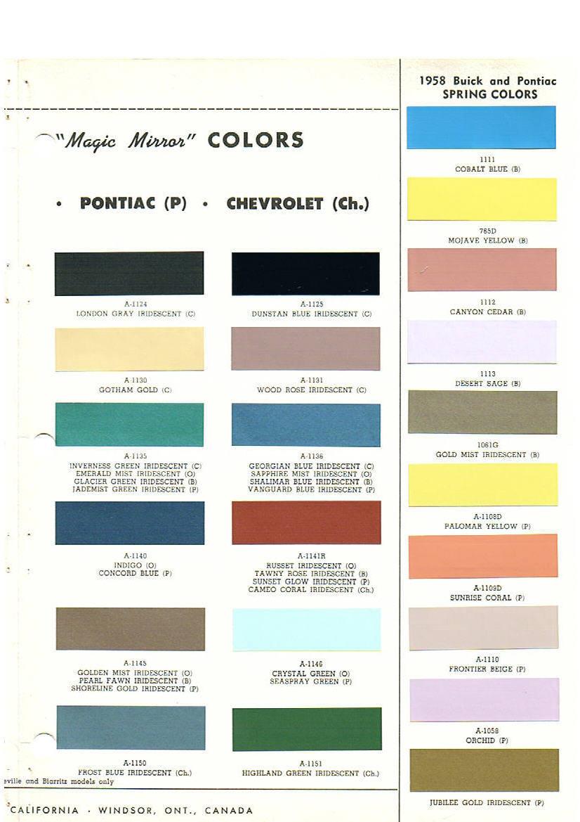 1959 Cadillac Paint Codes