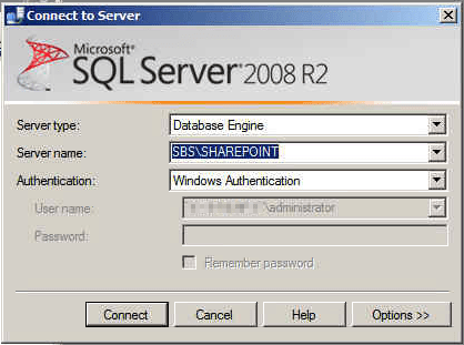 Connect to SHAREPOINT database on SBS 2011 with SQL Server Management Studio
