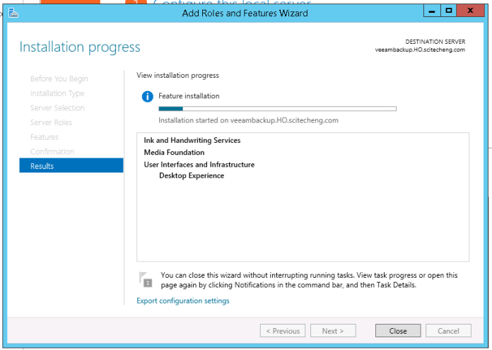 Desktop Experience Feature being installed on Windows Server 2012 r2
