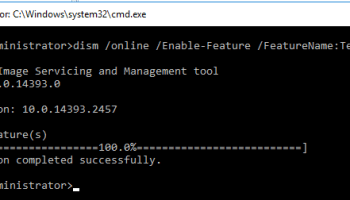 Image showing how to install telnet client on Windows Server 2016