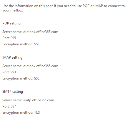 Office 365 POP and IMAP settings