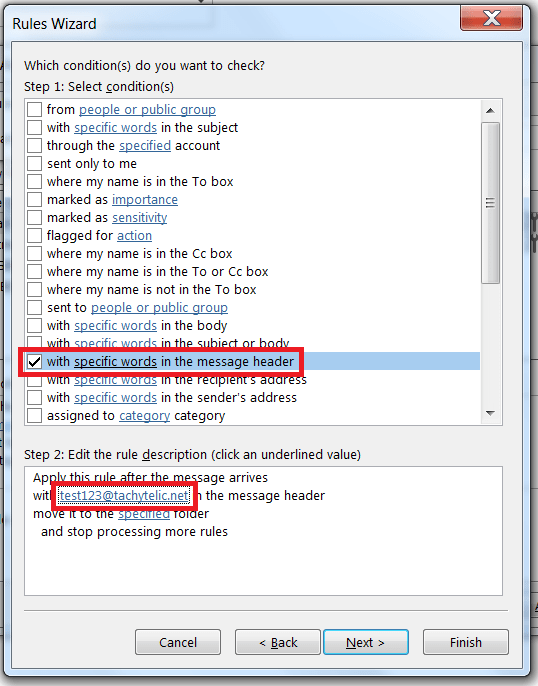 Using an Outlook rule to examine message headers