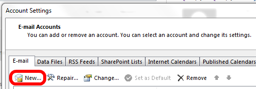 Outlook 2013 Create a New Account