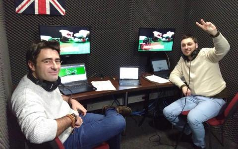 Vladimir Pagu și Cristi Petre în studioul Eurosport