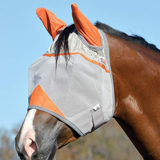 Cashel Orange Standard Fly Mask with Ears