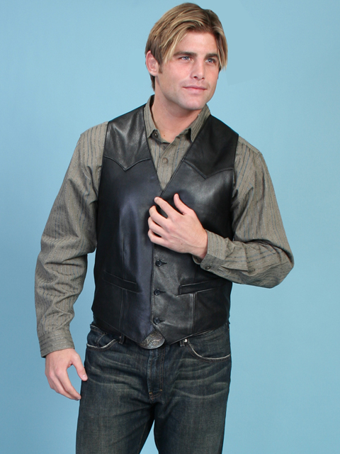 Scully Mens Western Vest in Lamb Leather
