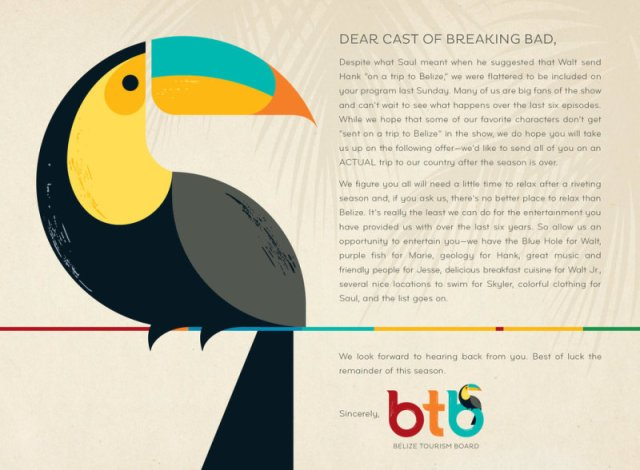 belize tourism board invitation to the cast of breaking bad