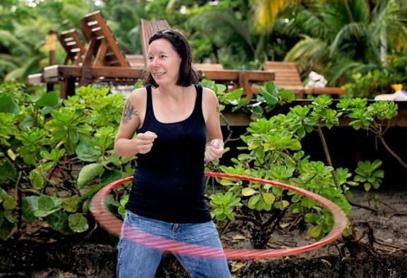 tacogirl hula hooping in san pedro belize