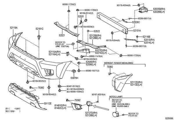2012 Toyota Camry Fender Replacement Parts Diagram. Toyota