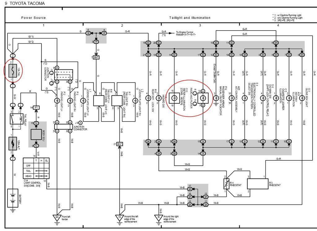 tacoma tail light wiring diagram
