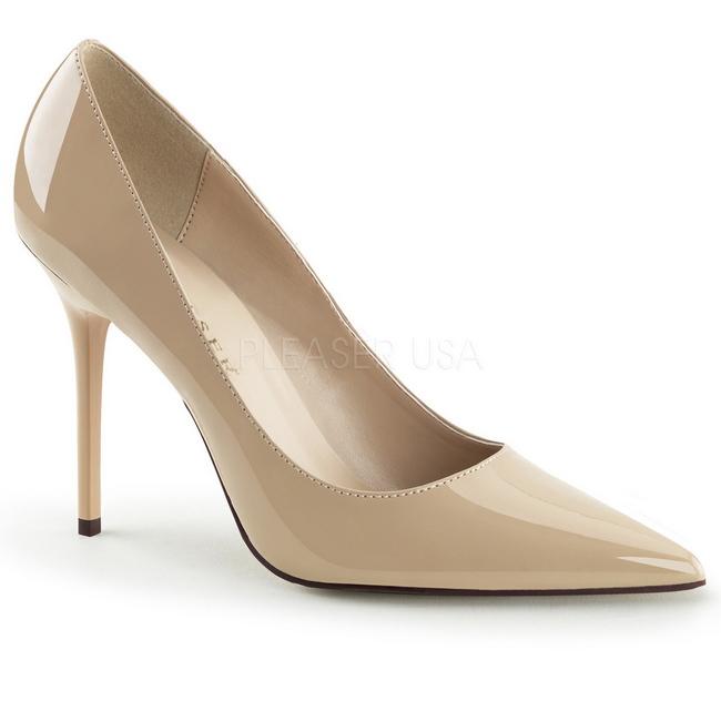 Beige Charol CLAS20ND PLEASER calzado femeninos Tallas Grandes Zapato de Salon para Hombres