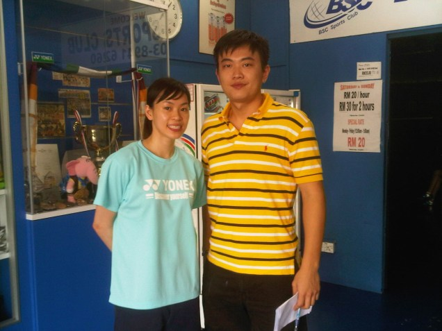 Coach Andrew with Former top womens player Wong Mew Choo (MAS)