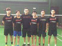 Coach Andrew Chang with his team of players.